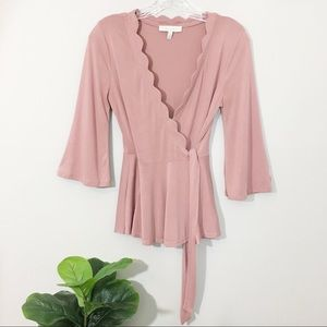 Eri+Ali Scalloped Neckline Tie Wrap Top Blush XS
